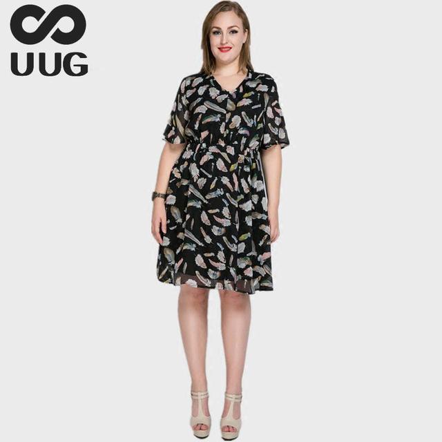 a6c8ae242f6 5xl Plus Size Vrouwen Women Dress Summer 2017 Casual Feather Print Chiffon Dress  Elegant Boho Bohemian Big Size Clothes 6xl 7xl