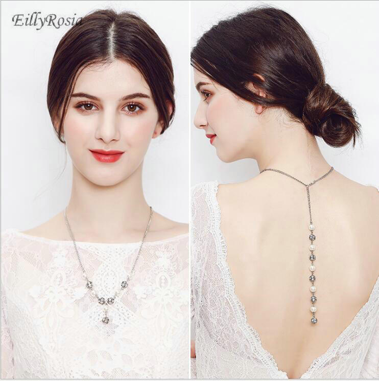 Silver Bridal Back Chain Necklaces Women Simulater Pearl Backdrop Bridal Accessories Fashion Trendy Sexy Choker Necklace Jewelry