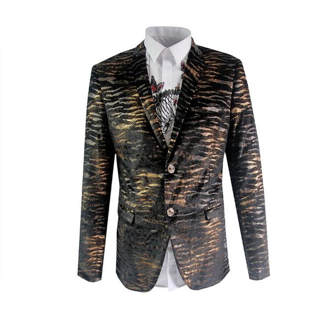 Men Blazer 2016 Mens Leopard Print Blazer Gold Blazer For Men Stage Costumes For Singers Vintage Suits Party Prom Dresses Q62