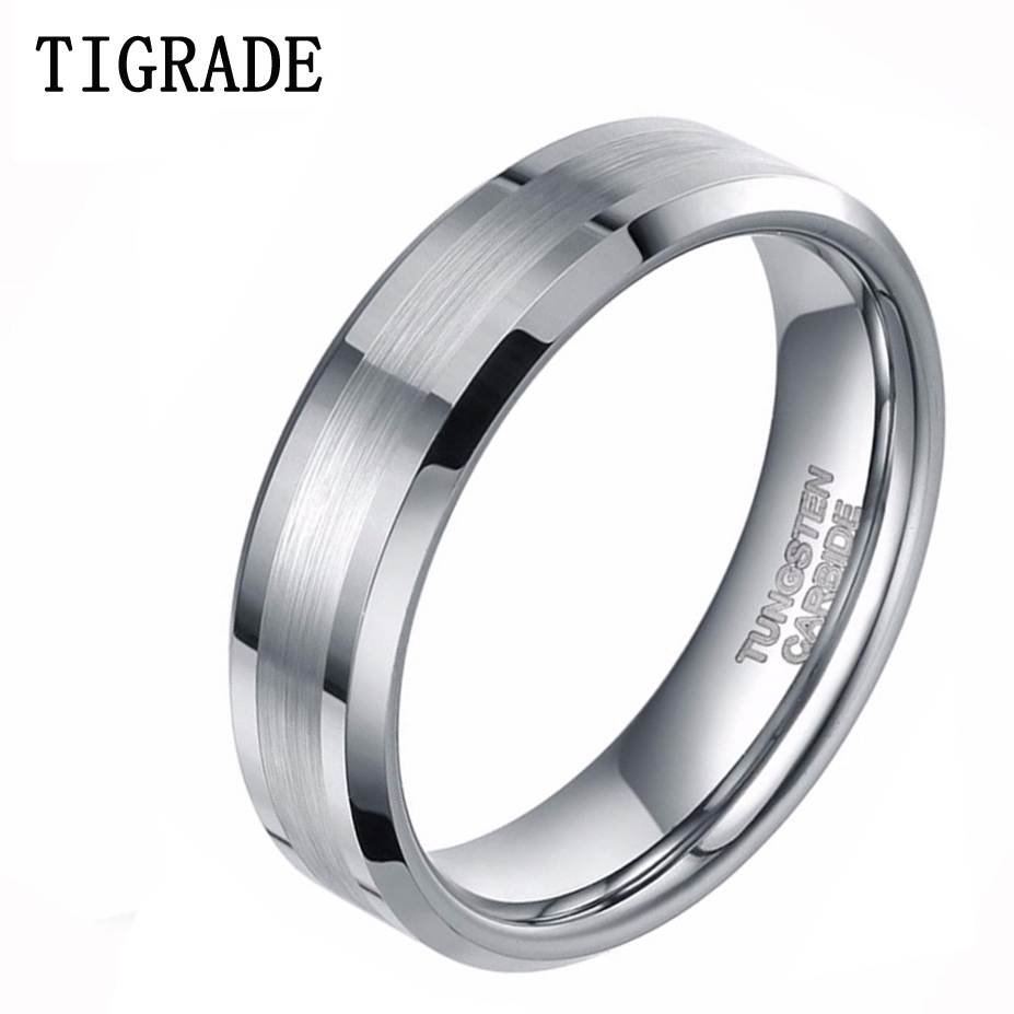 TIGRADE Fashion 6MM/8MM High Polish Edge Brushed Tungsten Carbide Ring Wedding Band Engagement Ring 1pc polished brushed 9mm wide band ring 100