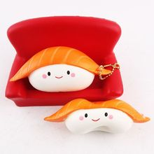 12cm Kawaii Squishy Rice Ball Salmon Sushi Slow Rising Pendant Keychain Vividly Squeeze Japan Style Soft Key Ring For Kid P20
