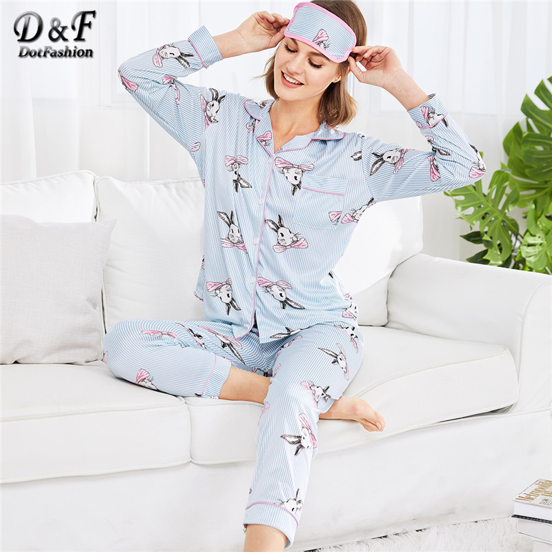 Dotfashion Rabbit Print Striped   Pajama     Set   2019 New Arrival Collar Long Sleeve Female Clothing Spring Animal   Pajama     Set