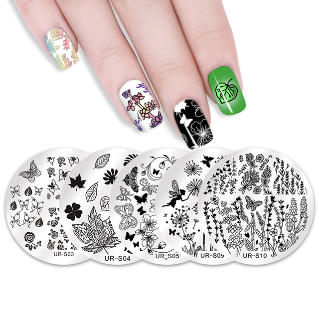 UR SUGAR 5Pcs Nail Stamping Plate Set Flower Butterfly Rose Floral ...