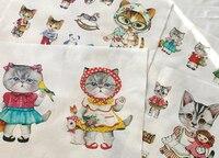 Lovely Cats di lino cotone tessuto assortimento 80 cm x 140 cm varietà patchwork quadrato tessile fresco stampato Zakka DIY Tessuto