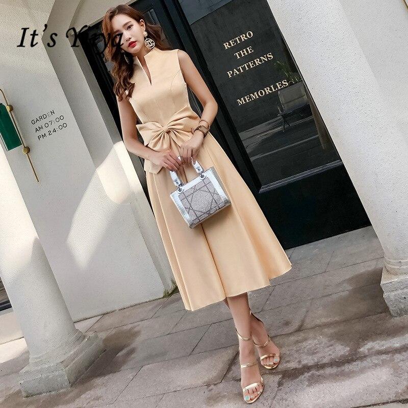 It's YiiYa Cocktail Dresses Elegant Tie Bow Turtleneck Satin Party Gowns Sleeveless Tea-length Zipper Back Formal Dress E396