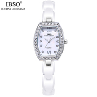 IBSO Elegant Lady Dress Watch 2018 Top Brand Luxury Crystal Shell Dial Ceramic Bracelet Watches Women