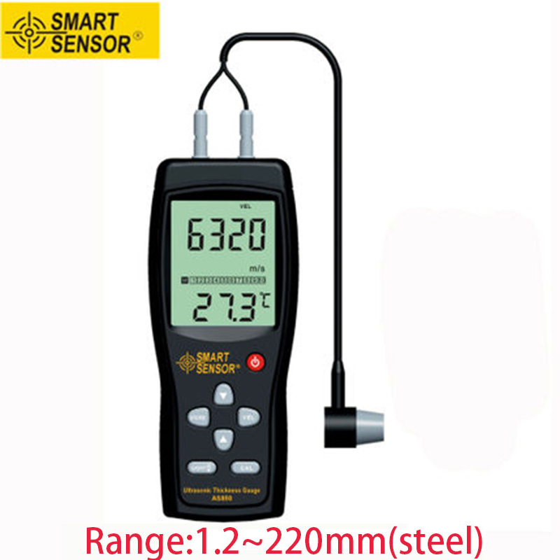 Smart Sensor AS850 LCD Digital Ultrasonic Thickness Gauge tester Sound Velocity Meter smart sensor ar860 ultrasonic thickness meter page 5