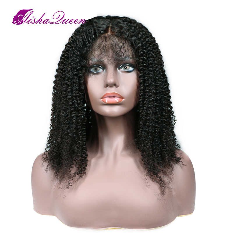 150% Density 360 Lace Frontal Wig Kinky Curly Wigs Peruvian Remy Human Hair Wig for Black Women Pre plucked Bleached Knots