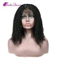 150% плотность 360 синтетический Frontal шнурка волос Парик курчавые кучерявые парики перуанский Remy человеческие волосы для черный для женщин пре