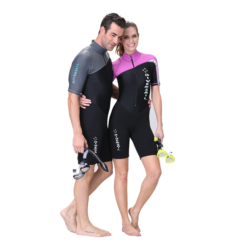 Couples Sets Siamese Sunscreen Diving Suits quick-dry Short-sleeved Swimwear Swimsuits Trunks Neoprene pants Shorts Men Women marulong s0002 women s fashionable flower pattern short sleeved nightdress green multi color