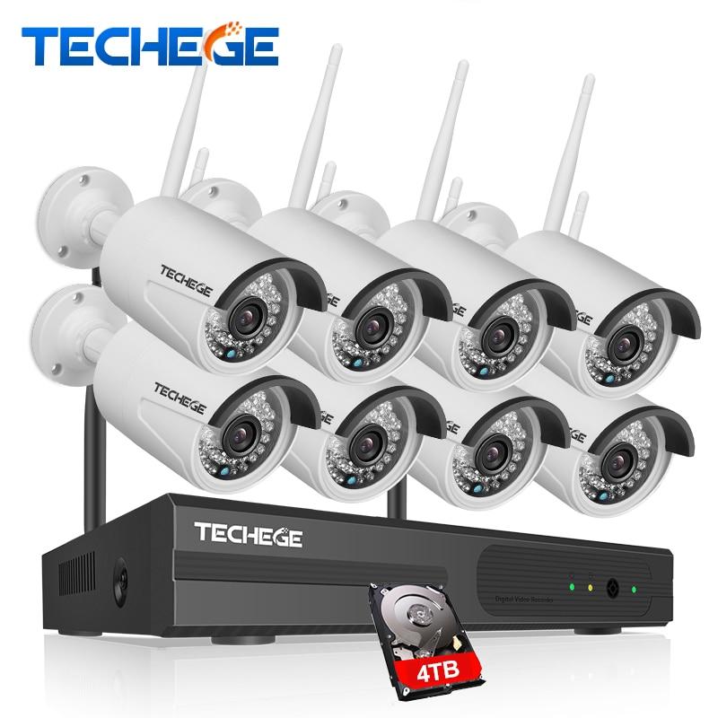 Techege 8CH Wireless IP Camera Wi fi NVR Kit 960P HD Outdoor IR Night Vision Security