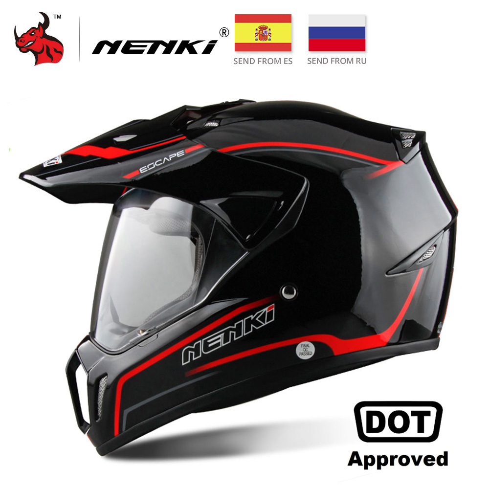 NENKI Zwarte Motorhelm Motorfiets Helm Motorcross heren Adventure Downhill DH Racing Casco Moto Helm DOT
