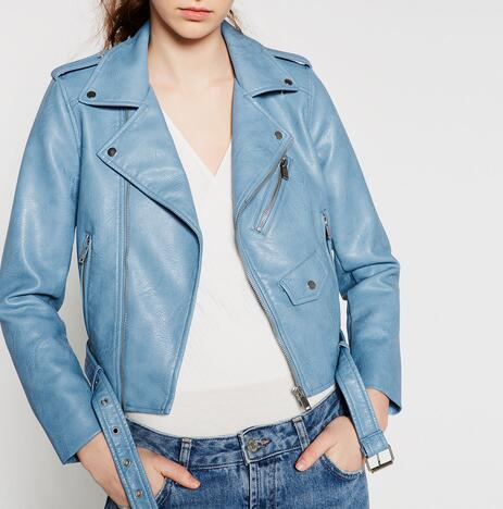 Popular Leather Biker Jacket Women Blue-Buy Cheap Leather Biker ...