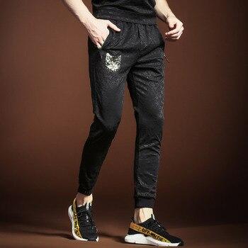 Men's Summer suit man trousers T-shirt top pants jacquard two-piece set