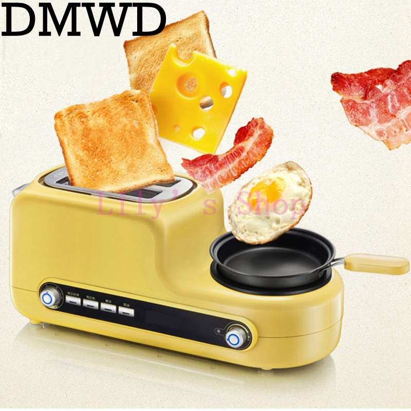 Stainless steel electric Toaster household portable breakfast machine automatic bread baking maker fried eggs boiler frying pan dmwd electric waffle maker muffin cake dorayaki breakfast baking machine household fried eggs sandwich toaster crepe grill eu us
