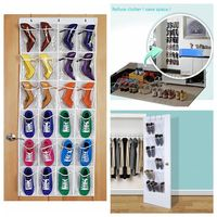 24 Pockets Convenient Clear Over Door Hanging Shoe Rack Hanger Shoes Storage Tidy Organizer