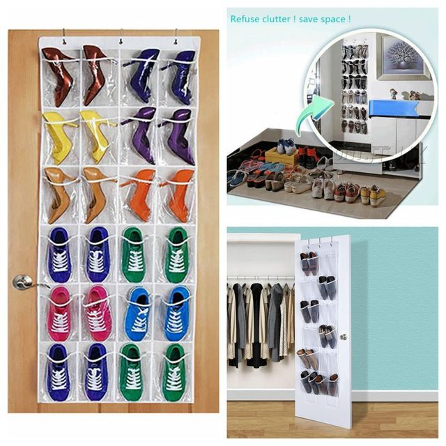 24 Pockets Convenient Clear Over Hanging Door Shoe Rack Hanger Shoes Storage Tidy Organizer