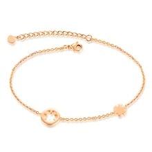 La nueva edición de la moda Europea de la cadena de pie de verano junto al mar exquisita y encantadora moda de acero de titanio rosa de oro GZ034