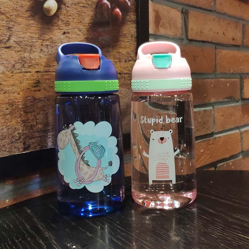 4 Colors Baby Bottle Infant Newborn Cup Children Learn Feeding Drinking Bottle Kids Straw Juice Water Bottles 450ML