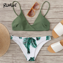 Romwe Sport Adjustable Straps Wire Free Chest Pad Bikini Top Plants Print Bottoms Bikini Set Women Summer Beach Pool Swimsuits ring linked adjustable straps bikini set