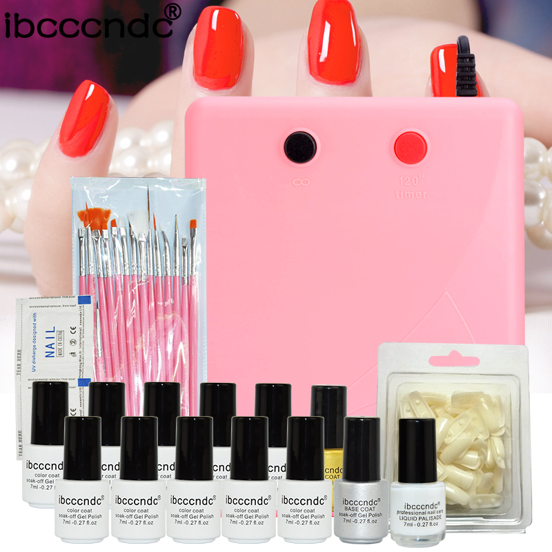 Pro Nail Art Set Manicure Tools 36W UV Lamp 10 Color 7ml Soak Off Gel Nail Base Gel Top Coat Polish Remover False Nail Tips Kit nail gel polish nail art manicure tools 36w uv lamp 6 color 7ml soak off gelpolish base top coat gel with remover practice set