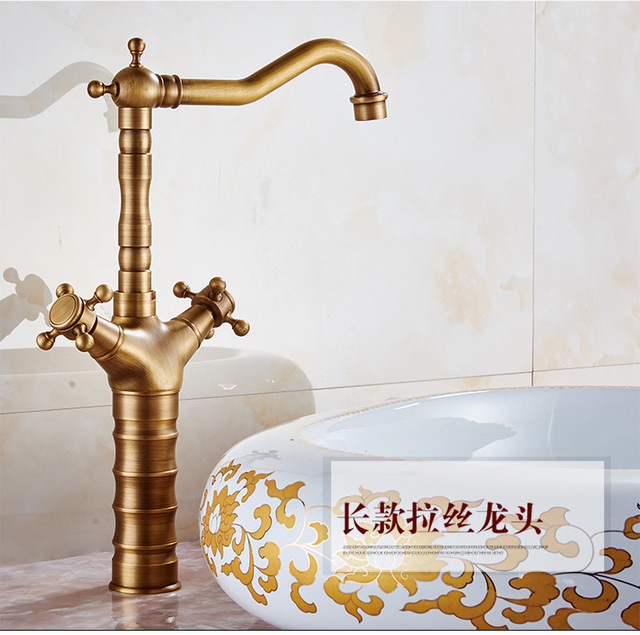 Bamboo antique bathroom faucet with solid brass bathroom basin sink ...