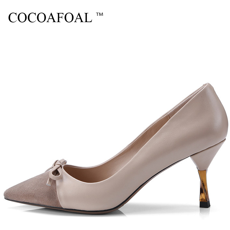 COCOAFOAL Woman Sexy High Heels Shoes Plus Size 33 - 43 Butterfly Knot Wedding Pumps Shallow Genuine Leather Pointed Toe Pumps spring autumn shoes woman pointed toe metal buckle shallow 11 plus size thick heels shoes sexy career super high heel shoes