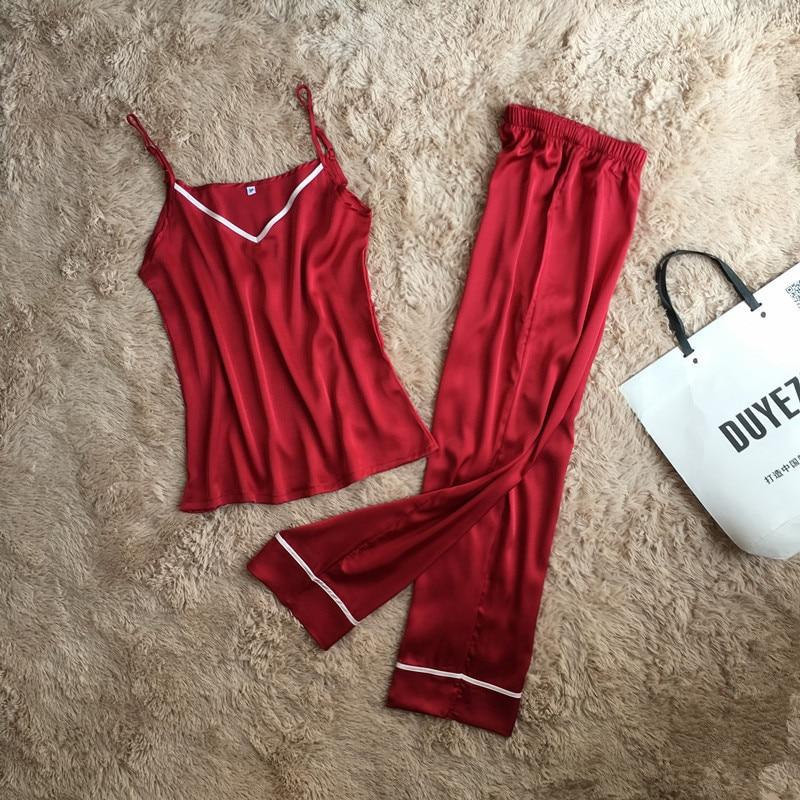 Spaghetti Strap Women Pajama Set  Nightdress+Long Pant Loose Women Deep V Sleepwear