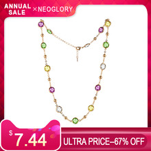 Neoglory MADE WITH SWAROVSKI ELEMENTS Crystal Colorful Round Beads Long Charm Necklace Classic Two Uses For Lady Dress Party