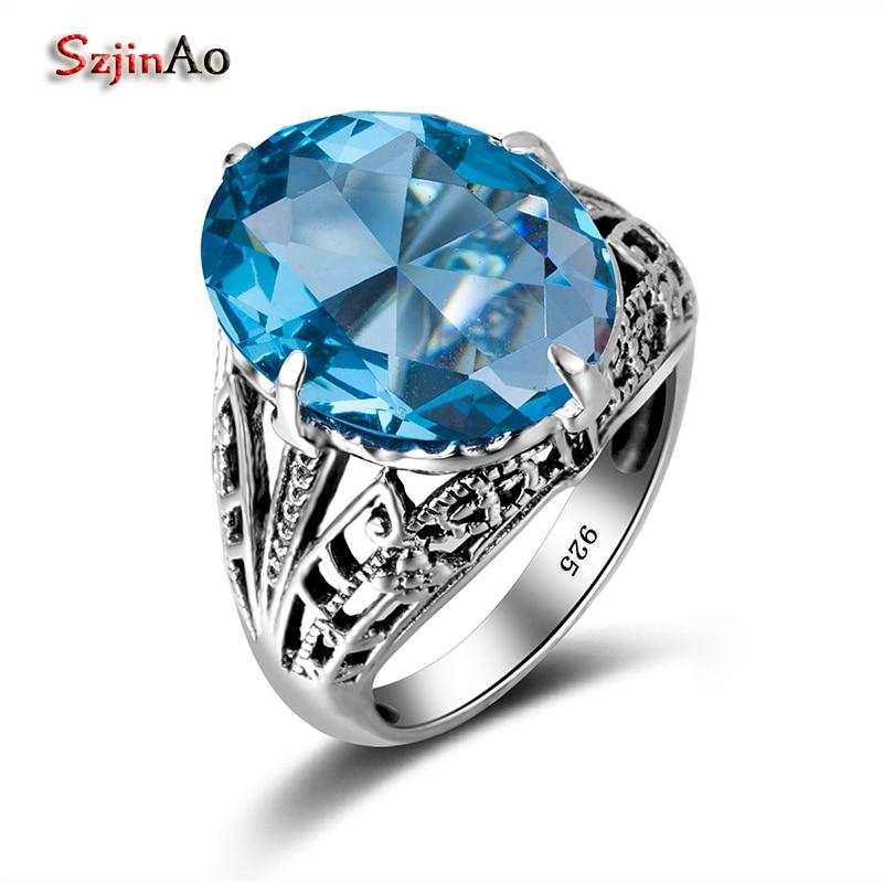 ea9d1a3a4e8 ̀ •́ Szjinao суперзвезда синий камень большой кольцо в стиле панк ...