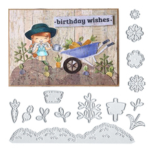 Julyarts Cutting Dies 55*151mm Silver Sun Flowers Carrots Stencils Scrapbooking Metal Template Punch