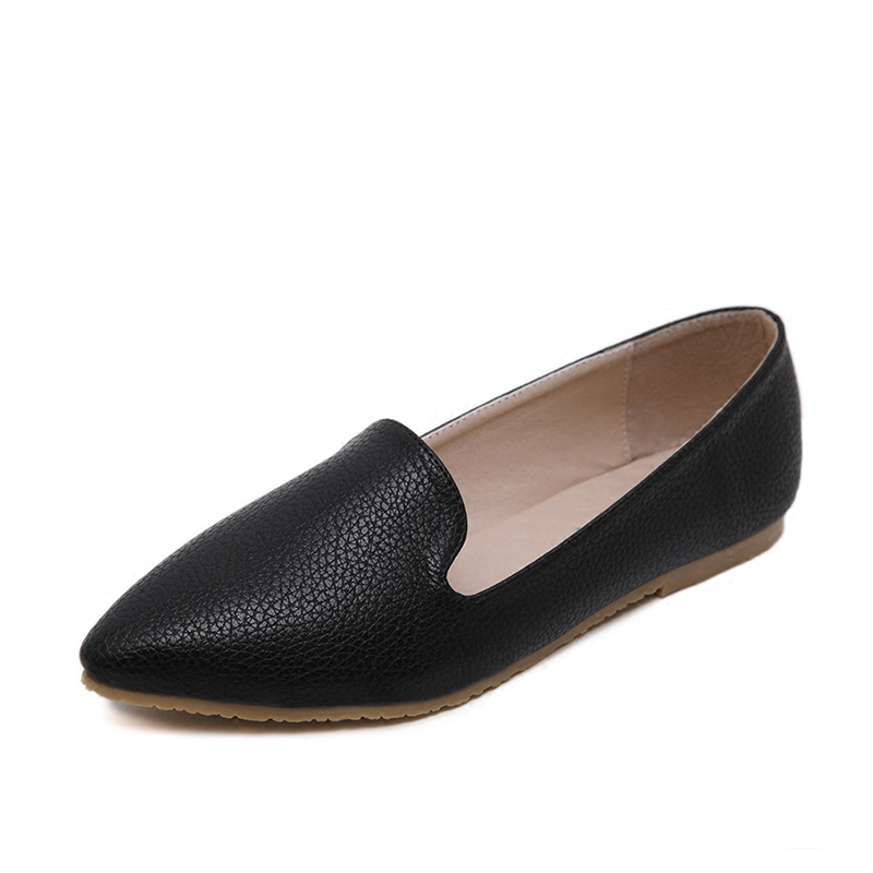 Simple Womens Shoes Flats 2017 Black Soft Leather Leisure Pointed Toe Casual Shoes Women Loafers Flat Heel Shoes Sapato Feminino 2017 womens spring shoes casual flock pointed toe narrow band string bead ballet flats flat shoes cover heel women flats shoes