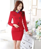 Novelty Red Slim Fashion Career Work Wear Suits With Jackets And Skirt Elegant Professional Business Women Blazers Outfits