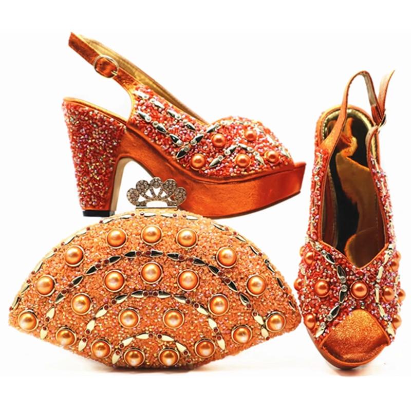 Nouveau Et Pour Chaussures Fête peach Sac De Africaine La Avec Femmes Décoré wine Strass Ensemble Mode Dans Italiennes orange blue Gold rqAXr