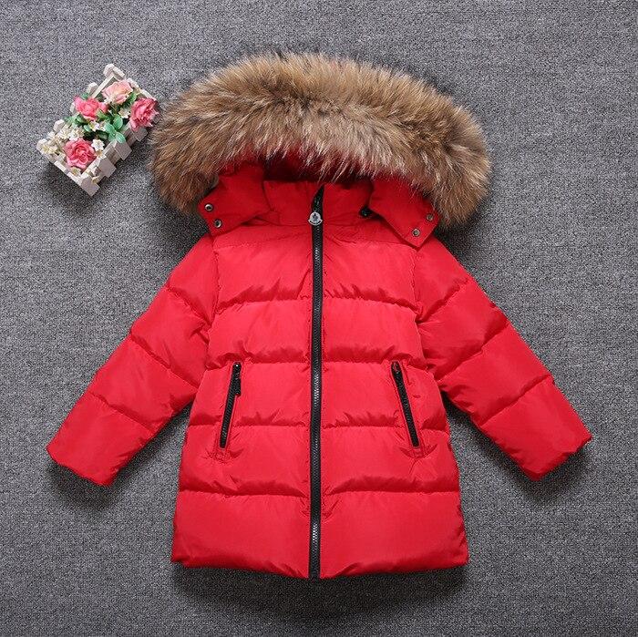 ФОТО -30 degree Children boy girl winter down jackets coats top quality detachable real fur hooded  Warm ski Coats  snow coat jackets