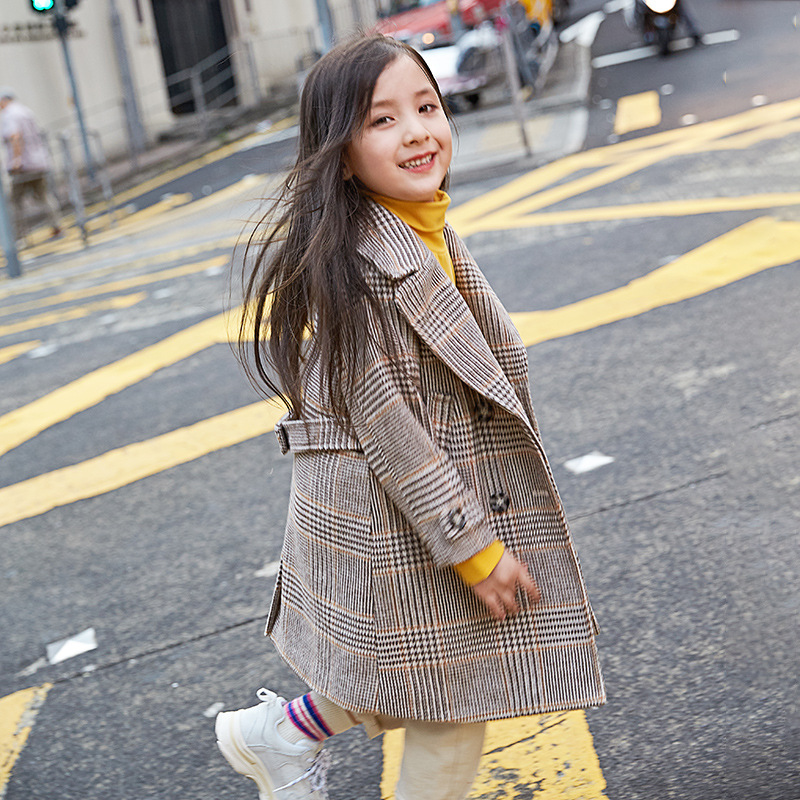 2018 New Winter Thickened Kids Coat Toddler Jacket Girl Jackets Girls Outerwear Coat Baby Girl Plaid Coat Princess Outfit,#3645 2017 new baby toddler girl autumn winter horn button hooded pea coat outerwear jacket