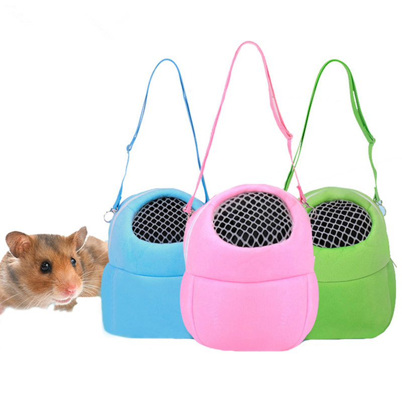 1PC Guinea Pig Hamster Carrier Soft Fleece Mesh Breathable Outdoor Hedgehog Rabbit Carrier Bag for Small Breed Pet Animal S/M/L