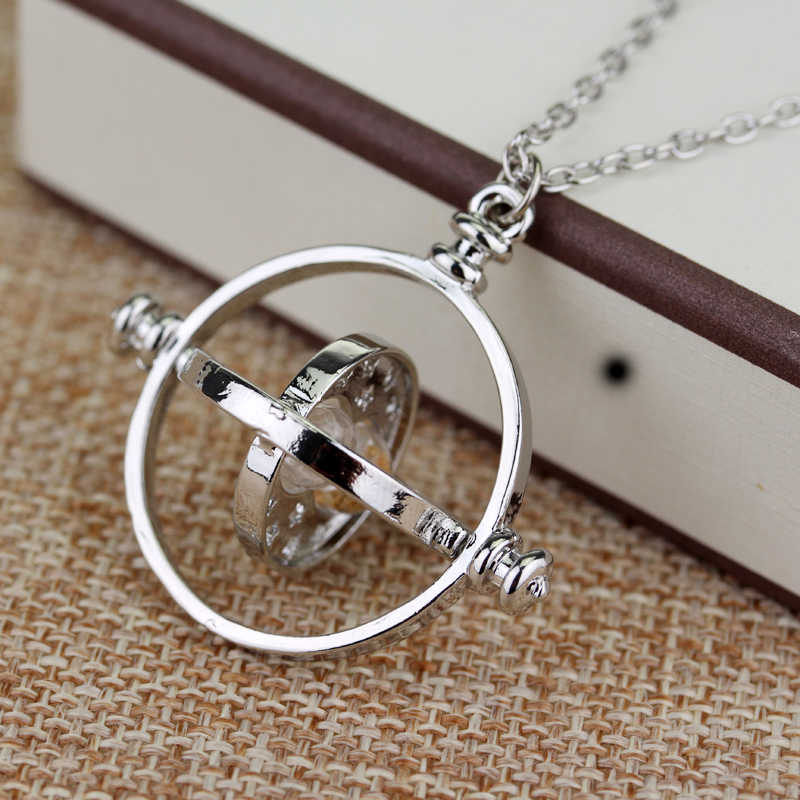 dongsheng Movie Jewelry HP Time Turner Necklace Hermione Granger Rotating Spins Gold Hourglass Nacklace -30