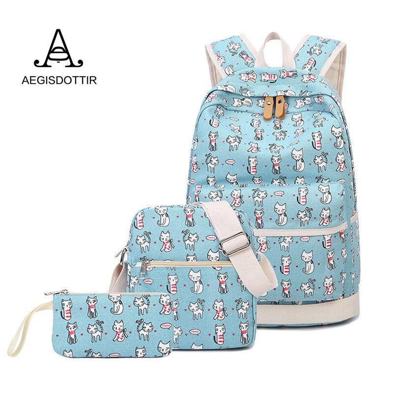 купить Cute Cat Printing Women Bagpack Rucksacks Canvas Backpacks for Teenage Girls Bags Laptop Animal Packbag Sac A Dos Femme Mochilas онлайн