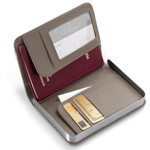 Multifunction metal frame leather travel bag storage passport bag ...