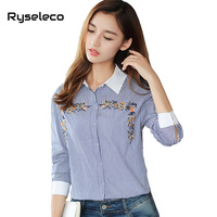 Ryseleco 2018 New Arrival Office Lady Long Sleeve Strip Blouses Floral Embroidery Slit Irregular High Low