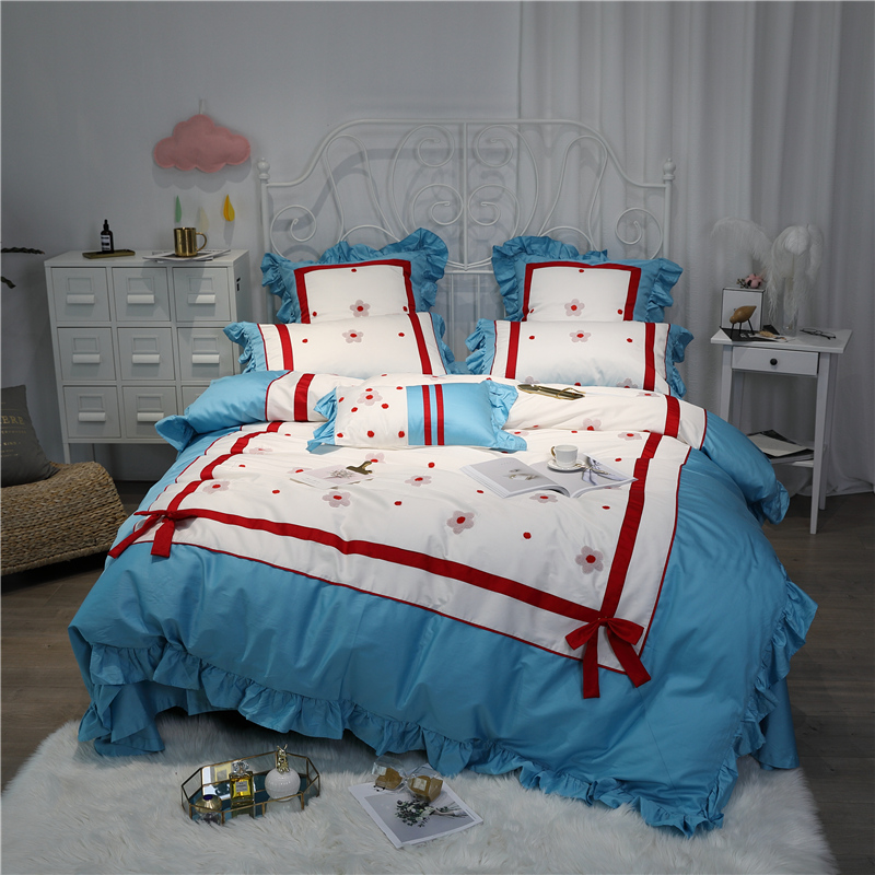 Luxury Egypt Cotton Sweet princess Bedding Set Ruffles Embroidery Duvet cover Bed Sheet Pillowcases Queen King Size 4/6/7PcsLuxury Egypt Cotton Sweet princess Bedding Set Ruffles Embroidery Duvet cover Bed Sheet Pillowcases Queen King Size 4/6/7Pcs