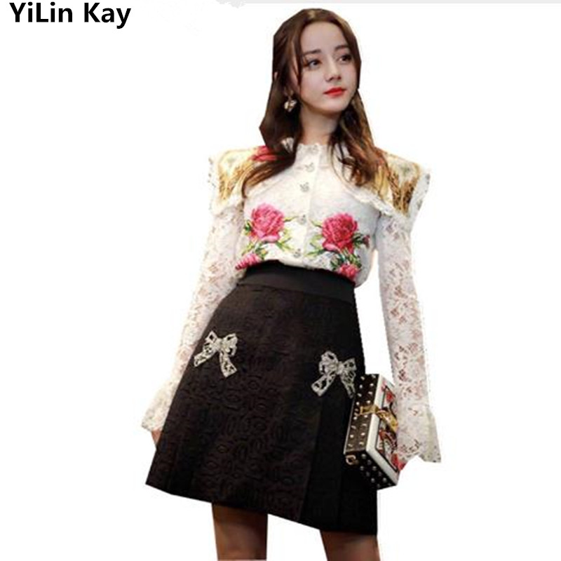 2019 High Quality Runway Luxury Autumn Women two Piece Set White Floral Embroidery Hollow Out Lace