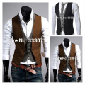 Free shipping 2015 New men's vest waistcoat Fashion Groom Wedding Waistcoat Male Slim Fit Dress Vests Custom made Plus Size