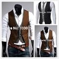 Free shipping 2015 New men's vest waistcoat Fashion Groom Wedding Waistcoat Male Slim Fit Dress Vests Custom made Plus Size