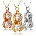 Pedante perla para Las Mujeres Brillantes De Maní Freshewater Perla Señora Regalo de La Joyería Del Encanto Del Collar de Plata de dos para un envío