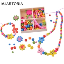 MJARTORIA DIY Accessories Beads Multicolor Wooden Box Beadst For Children Necklace Bracelet Crafts For Jewelry Making Toys Gif