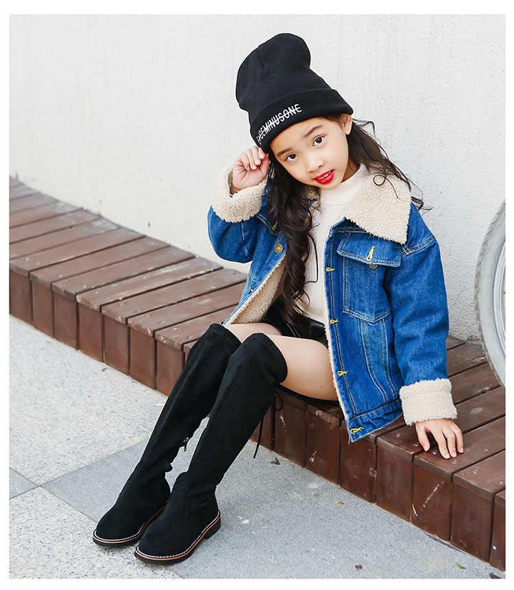 Yeni Çocuk Diz Çizmeler Üzerinde Kız Ayakkabı Diz Moda Çocuk Botları Sonbahar Ve Kış Prenses Kızlar Öğrenciler Ayakkabı