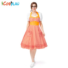 2019 new orange plaid beer suit Four-color large swing skirt popular pastoral wind farm Sling dress Halloween summer