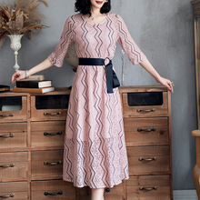 Lace Dress Women Elegant 2019 Spring Summer New Stripes Printed Round Neck Three Quarter Sleeved Slim A-Line Midi Dress S-XXL lace dress women elegant 2019 spring summer new stripes printed round neck three quarter sleeved slim a line midi dress s xxl